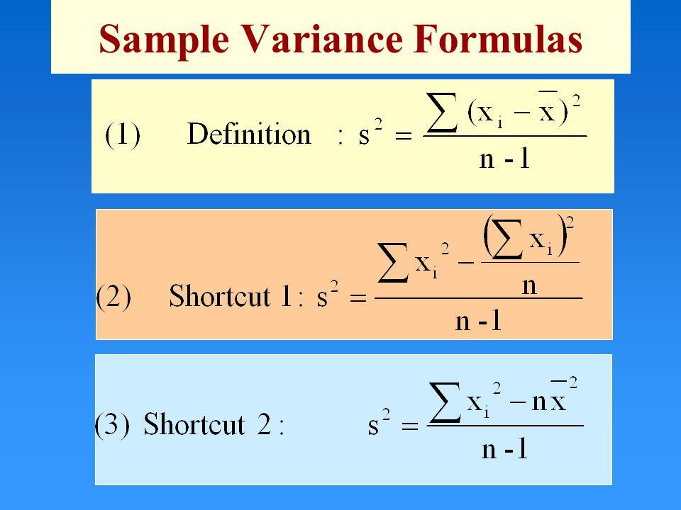 Sample Variance Formulas