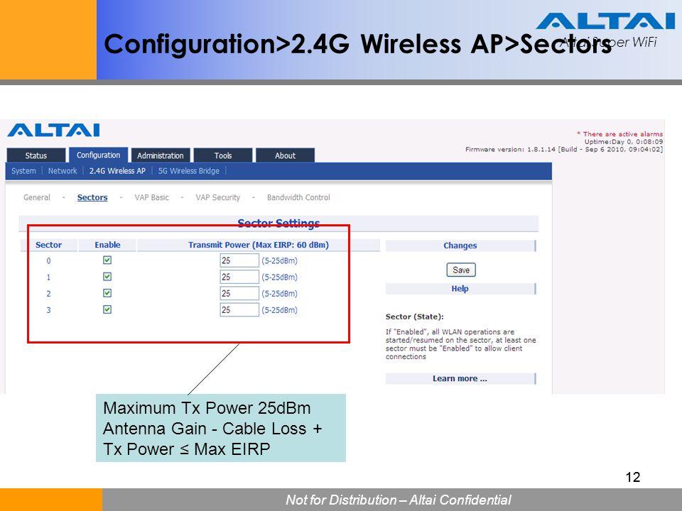 Altai Super WiFi Not for Distribution – Altai Confidential Altai Super WiFi 12 Configuration>2.4G Wireless AP>Sectors Maximum Tx Power 25dBm Antenna G