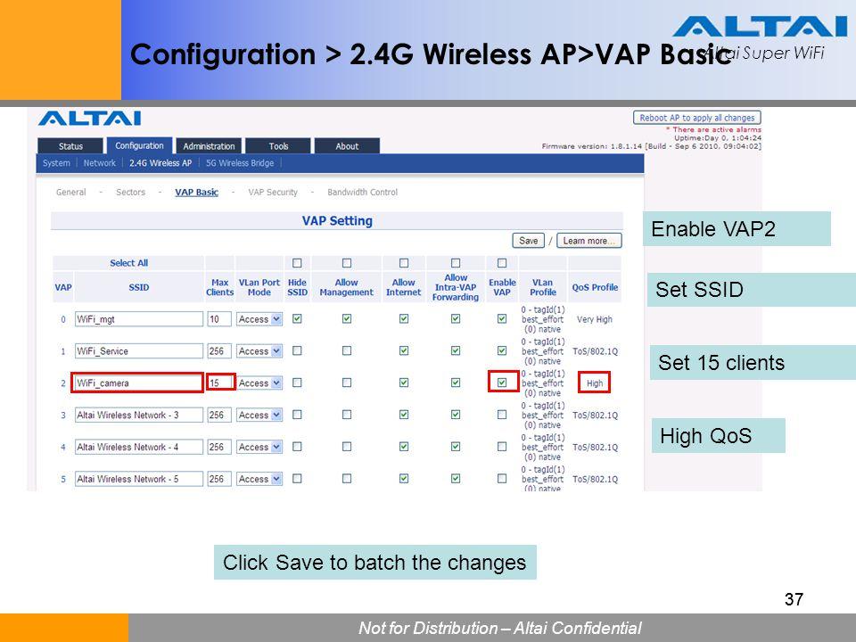 Altai Super WiFi Not for Distribution – Altai Confidential Altai Super WiFi 37 Configuration > 2.4G Wireless AP>VAP Basic Enable VAP2 Set SSID Set 15
