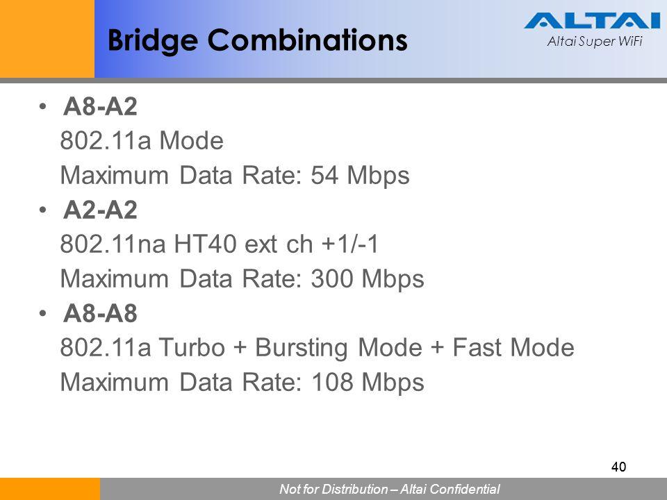 Altai Super WiFi Not for Distribution – Altai Confidential Altai Super WiFi 40 Bridge Combinations A8-A2 802.11a Mode Maximum Data Rate: 54 Mbps A2-A2