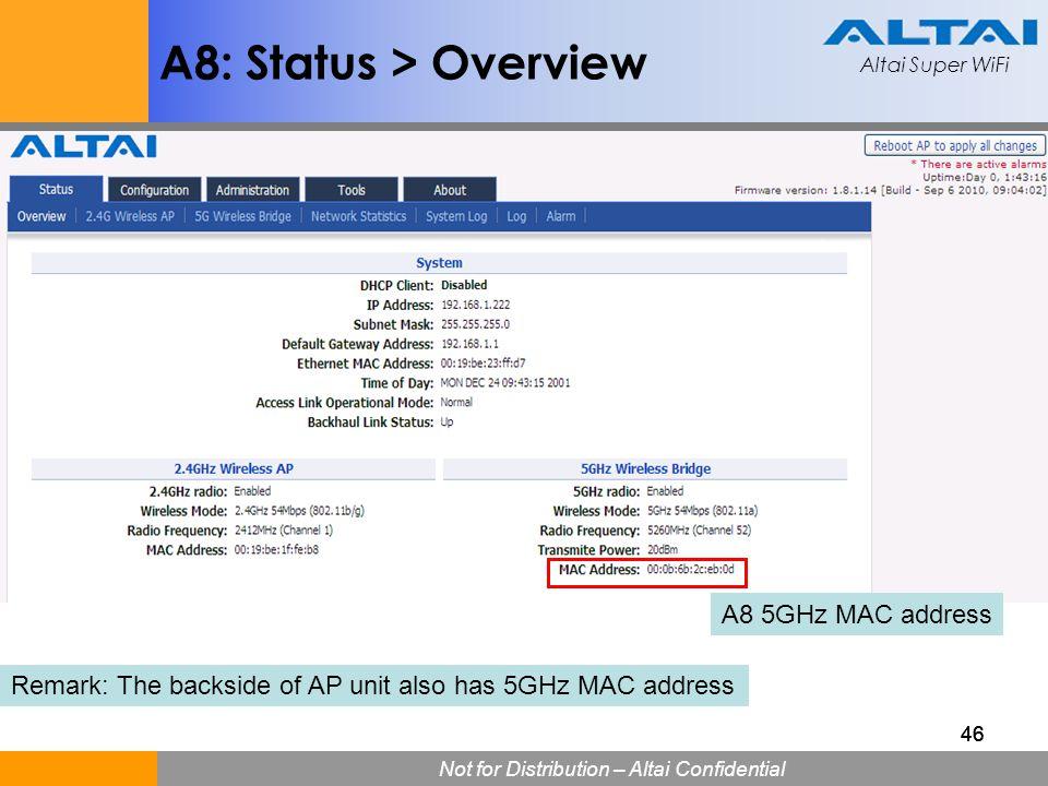 Altai Super WiFi Not for Distribution – Altai Confidential Altai Super WiFi 46 A8: Status > Overview A8 5GHz MAC address Remark: The backside of AP un