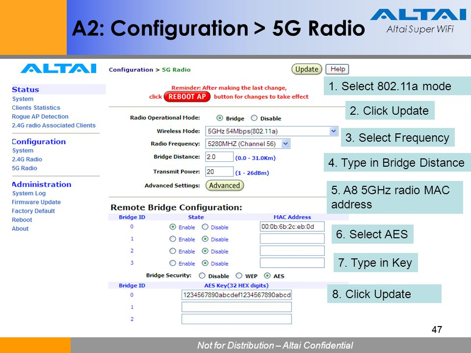 Altai Super WiFi Not for Distribution – Altai Confidential Altai Super WiFi 47 A2: Configuration > 5G Radio 1. Select 802.11a mode 2. Click Update 3.