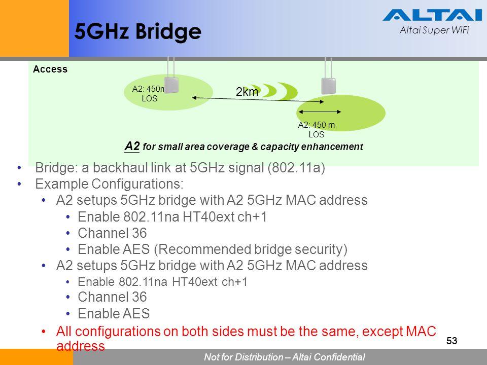 Altai Super WiFi Not for Distribution – Altai Confidential Altai Super WiFi 53 5GHz Bridge A2 for small area coverage & capacity enhancement A2: 450 m