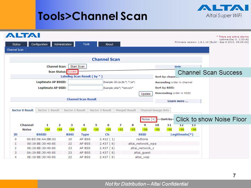 Altai Super WiFi Not for Distribution – Altai Confidential Altai Super WiFi 58 A8: Configuration>5G Wireless Bridge>Remote Bridge 5.