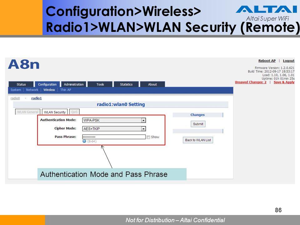 Altai Super WiFi Not for Distribution – Altai Confidential Altai Super WiFi 86 Configuration>Wireless> Radio1>WLAN>WLAN Security (Remote) Authenticati