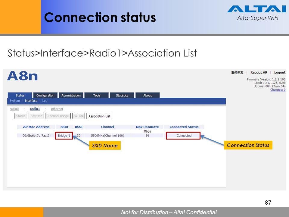Altai Super WiFi Not for Distribution – Altai Confidential Altai Super WiFi 87 Connection status Connection Status SSID Name Status>Interface>Radio1>A