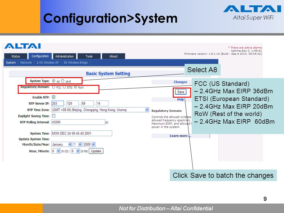 Altai Super WiFi Not for Distribution – Altai Confidential Altai Super WiFi 30 Bandwidth Control Example Using the airtime bandwidth control feature with VAP set to 15% and Station set to 5%, the congestion problem was totally resolved.