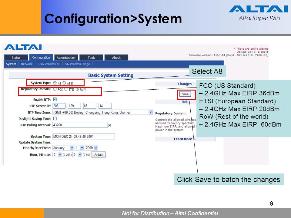 Altai Super WiFi Not for Distribution – Altai Confidential Altai Super WiFi 999 FCC (US Standard) – 2.4GHz Max EIRP 36dBm ETSI (European Standard) – 2