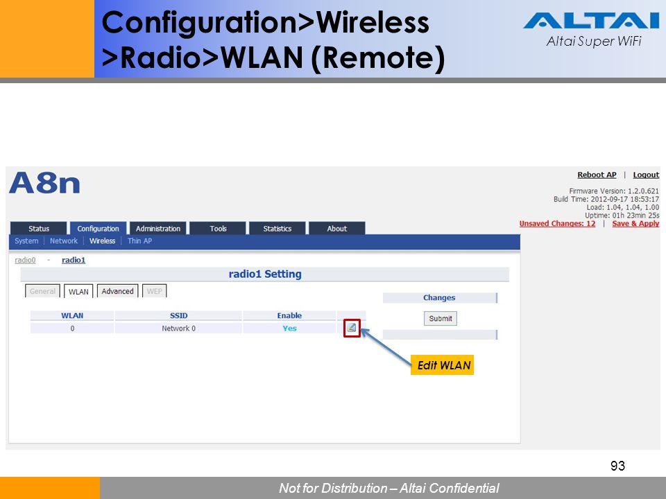 Altai Super WiFi Not for Distribution – Altai Confidential Altai Super WiFi 93 Configuration>Wireless >Radio>WLAN (Remote) Edit WLAN