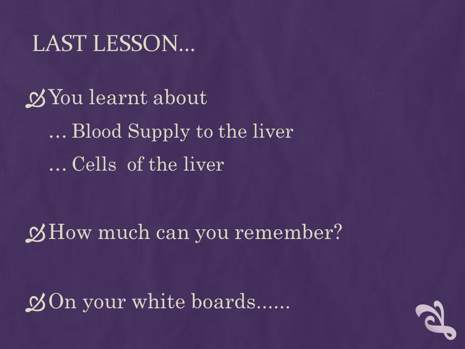 LAST LESSON...
