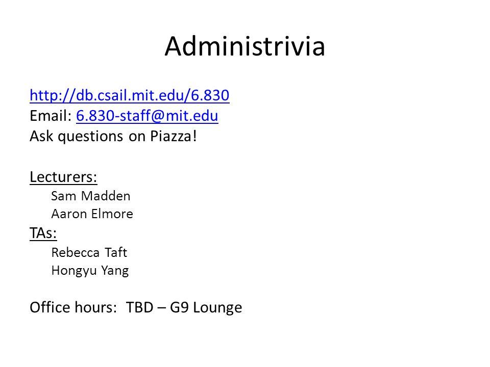 Administrivia http://db.csail.mit.edu/6.830 Email: 6.830-staff@mit.edu6.830-staff@mit.edu Ask questions on Piazza! Lecturers: Sam Madden Aaron Elmore