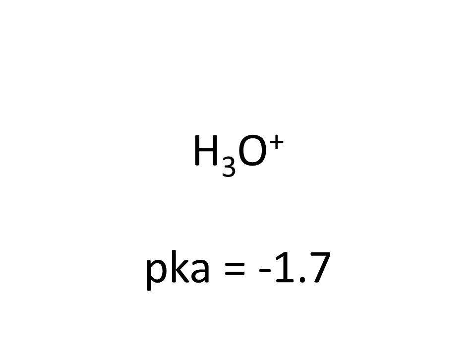 H3O+H3O+ pka = -1.7