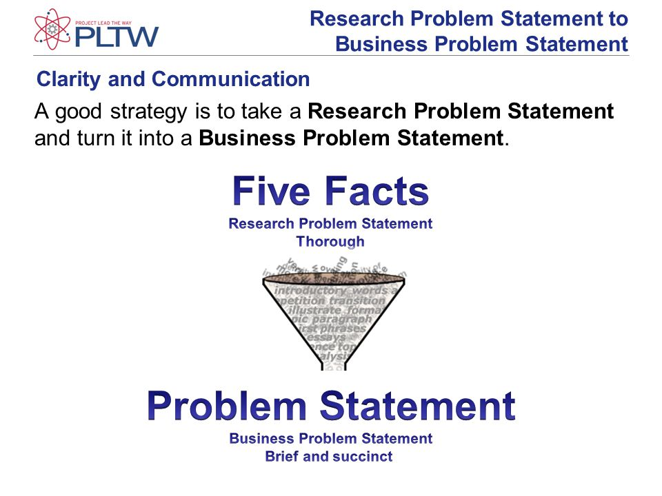 Clarity and Communication A good strategy is to take a Research Problem Statement and turn it into a Business Problem Statement.