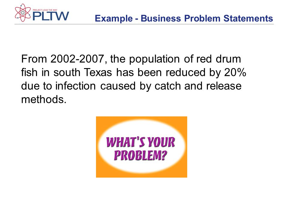Example - Business Problem Statements From 2002-2007, the population of red drum fish in south Texas has been reduced by 20% due to infection caused by catch and release methods.