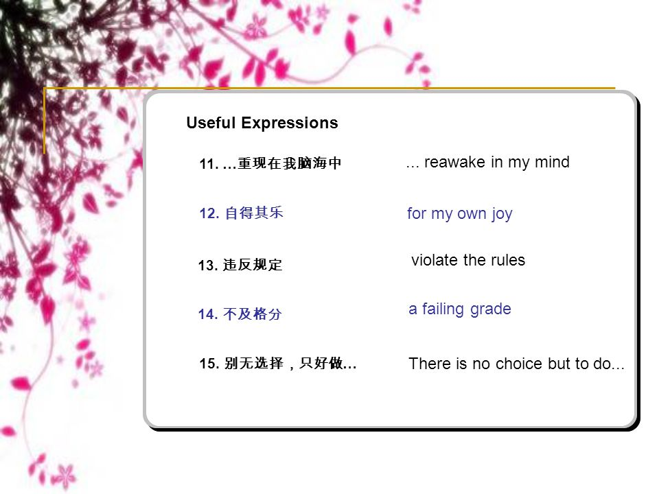 Useful Expressions 15. 别无选择,只好做 … There is no choice but to do... 11. … 重现在我脑海中 12. 自得其乐 13. 违反规定 14. 不及格分... reawake in my mind for my own joy violat