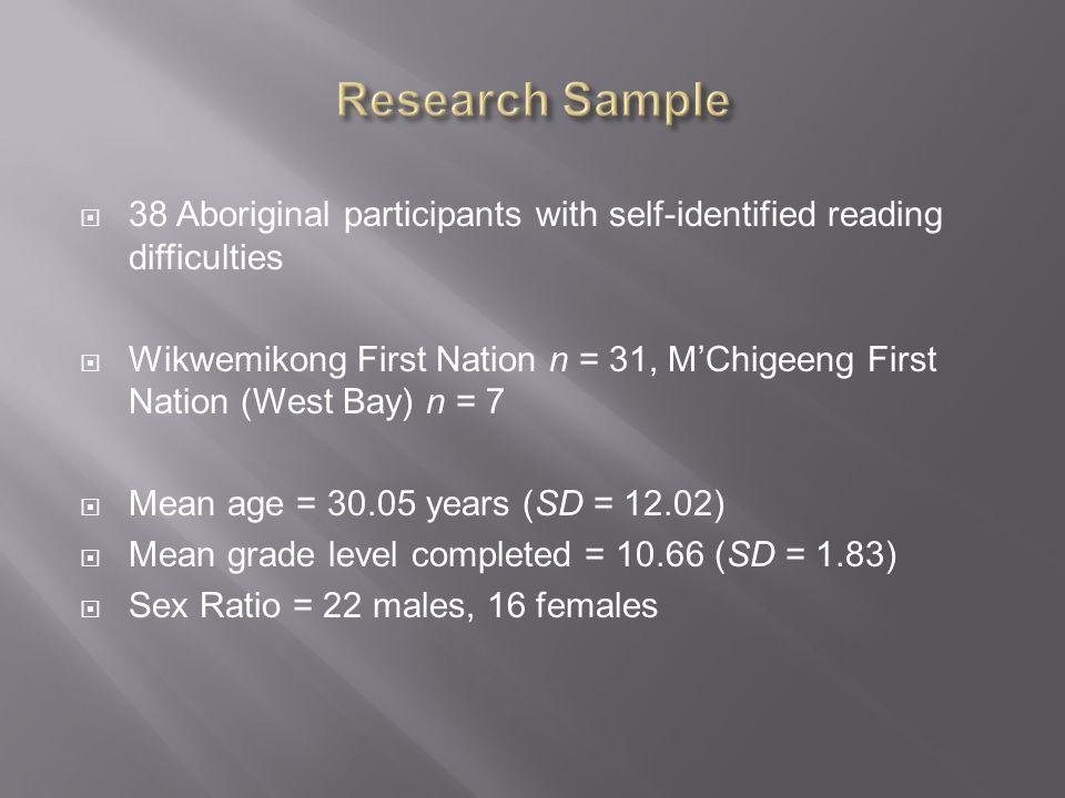  38 Aboriginal participants with self-identified reading difficulties  Wikwemikong First Nation n = 31, M'Chigeeng First Nation (West Bay) n = 7  Mean age = years (SD = 12.02)  Mean grade level completed = (SD = 1.83)  Sex Ratio = 22 males, 16 females