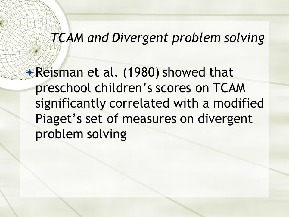 TCAM and Divergent problem solving  Reisman et al.