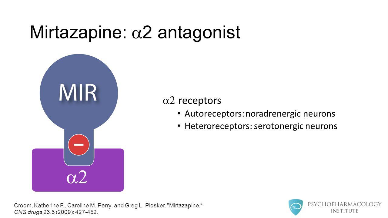 Mirtazapine:  2 antagonist  receptors Autoreceptors: noradrenergic neurons Heteroreceptors: serotonergic neurons Croom, Katherine F., Caroline M.
