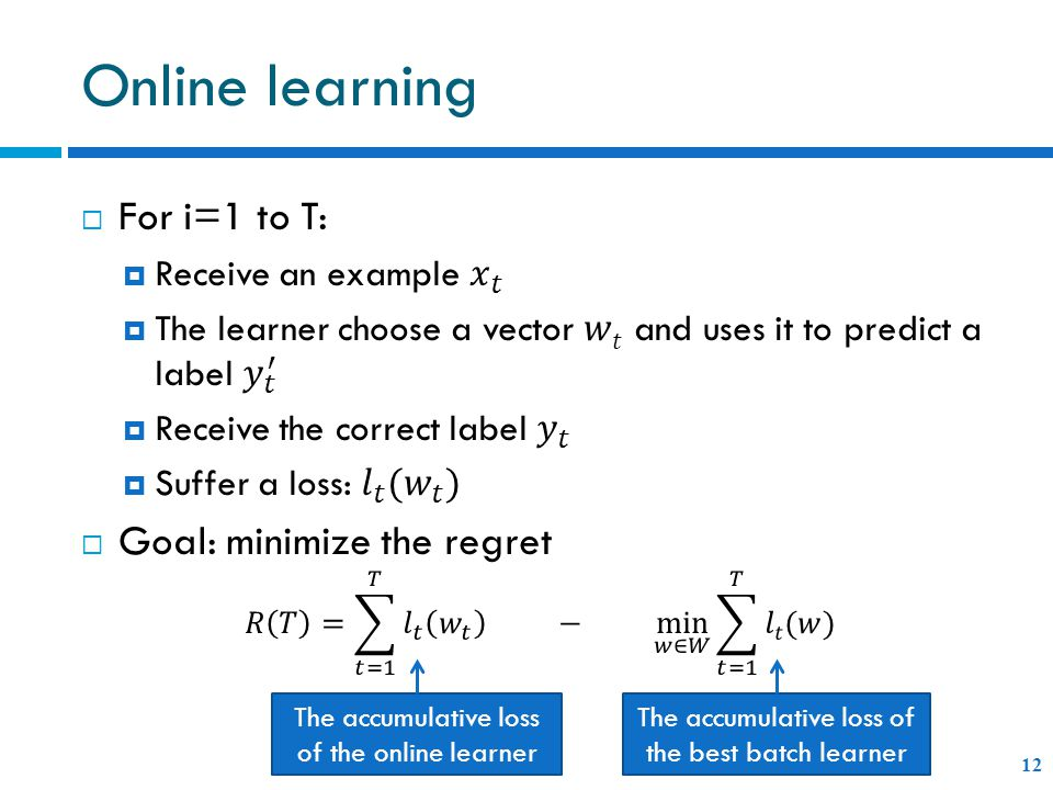 Online learning 12 The accumulative loss of the online learner The accumulative loss of the best batch learner