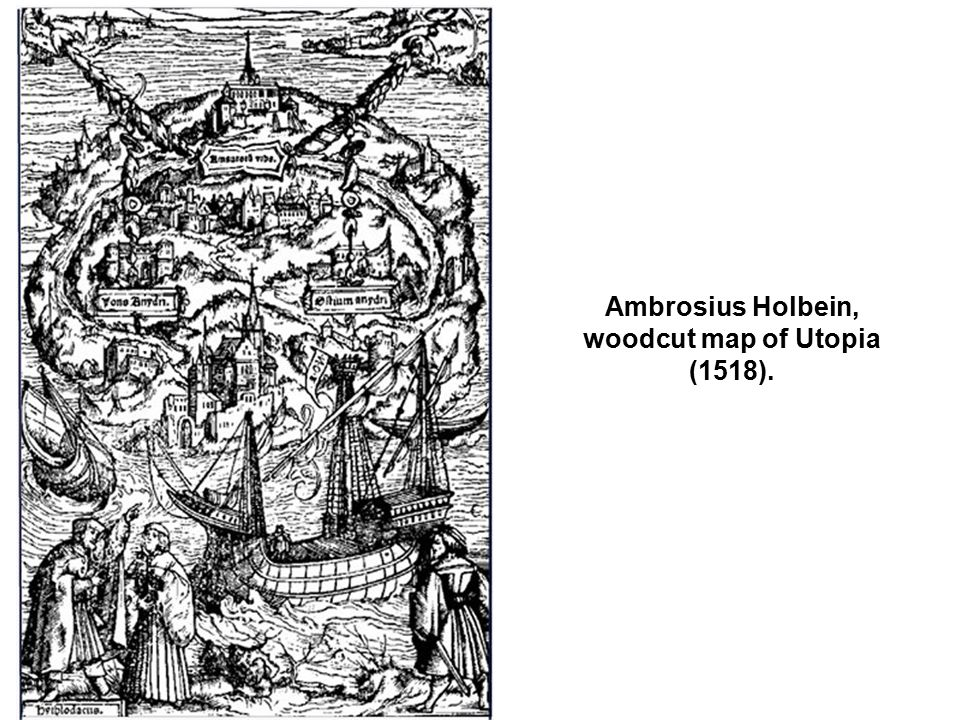 Ambrosius Holbein, woodcut map of Utopia (1518).