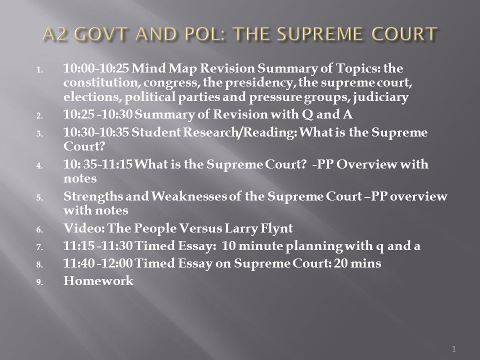 1. 10:00-10:25 Mind Map Revision Summary of Topics: the constitution, congress, the presidency, the supreme court, elections, political parties and pr