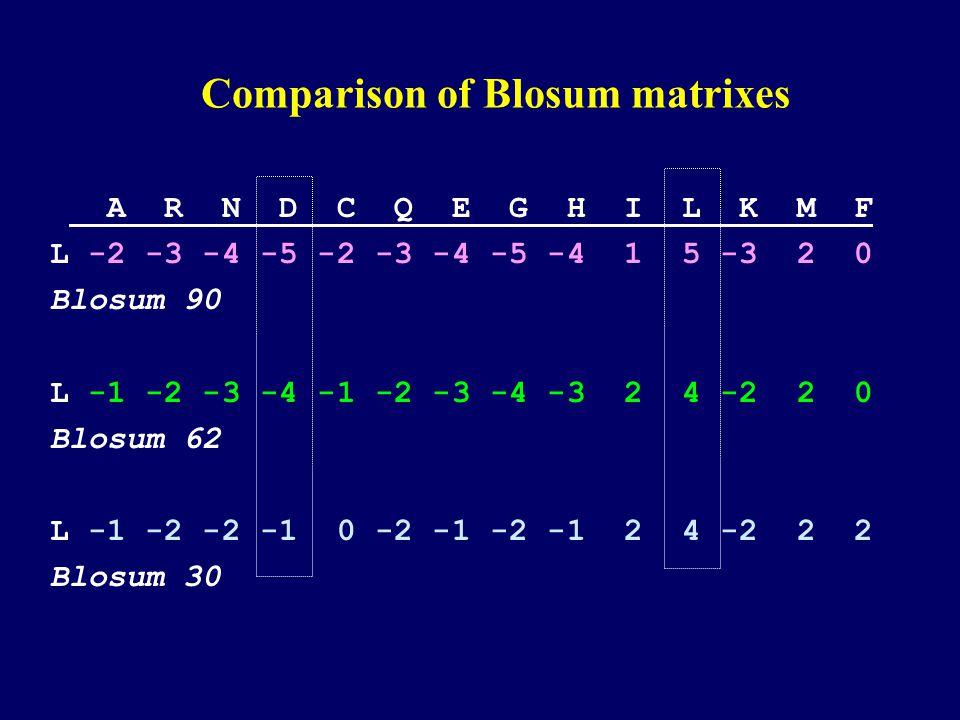 Comparison of Blosum matrixes A R N D C Q E G H I L K M F L -2 -3 -4 -5 -2 -3 -4 -5 -4 1 5 -3 2 0 Blosum 90 L -1 -2 -3 -4 -1 -2 -3 -4 -3 2 4 -2 2 0 Blosum 62 L -1 -2 -2 -1 0 -2 -1 -2 -1 2 4 -2 2 2 Blosum 30
