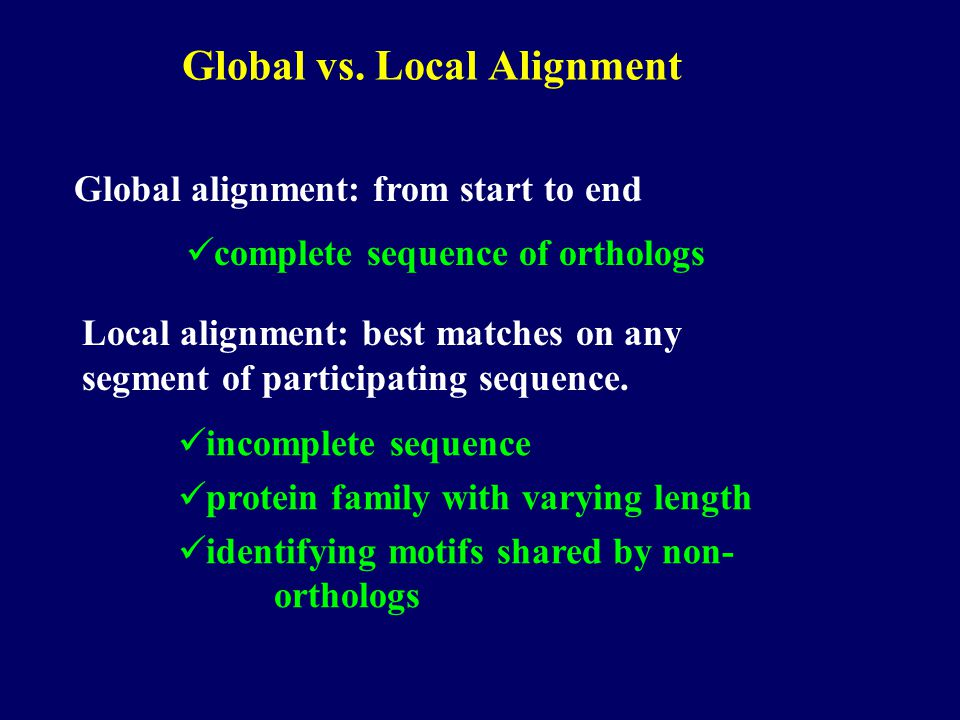 Global vs. Local Alignment Global alignment: from start to end Local alignment: best matches on any segment of participating sequence. complete sequen