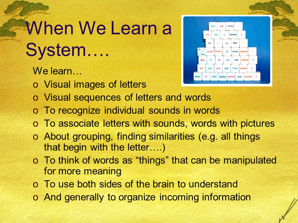 Literacy Organizes the Brain: o … Schooling and in particular the knowledge of orthography introduces in the brain new strategies for information processing … (Castro-Caldas & Reis, 2003) o … Learning to read and write during childhood influences the functional organization of the adult human brain. (Castro-Caldas, Petersson, Reis, Stone-Elander & Ingvar,1998) o … Brains of illiterate subjects show patterns of activation that are different from those of literate subjects, thus reflecting that environmental conditions can influence brain organization. (Ostroski- Solis, Garcia & Perez, 2004)