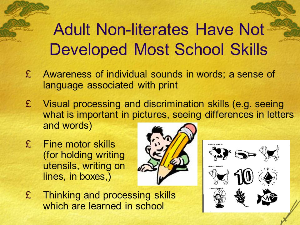 ORAL SKILLS Keep it REAL: REAL Items in THEIR environment Experiences (visit a grocery store, a health center, a clothing store, a pharmacy) Situations: THEIR jobs, transportation, People: family (REAL family!!) classmates, teachers, members of their community Build receptive skills: Total Physical Response (TPR)