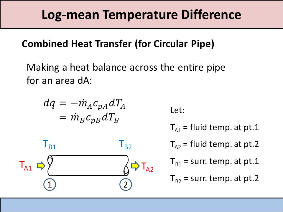 Log-mean Temperature Difference *The temperature of the fluid and immediate surroundings vary along the length.