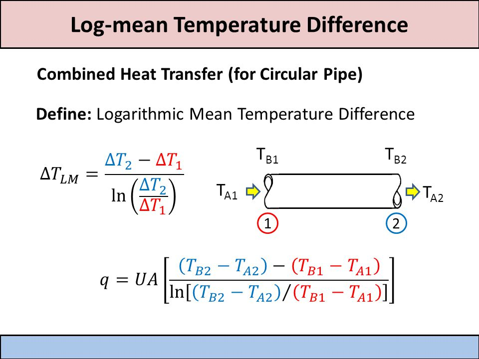 Log-mean Temperature Difference Combined Heat Transfer (for Circular Pipe) Define: Logarithmic Mean Temperature Difference T A1 T A2 T B1 T B2 1 2