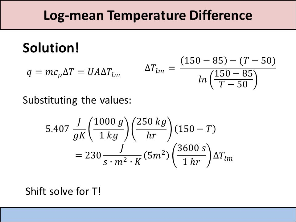 Log-mean Temperature Difference Solution.