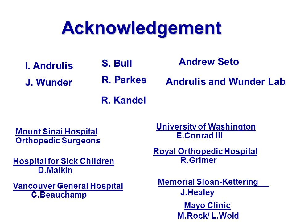 Acknowledgement Mount Sinai Hospital Orthopedic Surgeons Hospital for Sick Children D.Malkin Vancouver General Hospital C.Beauchamp R.