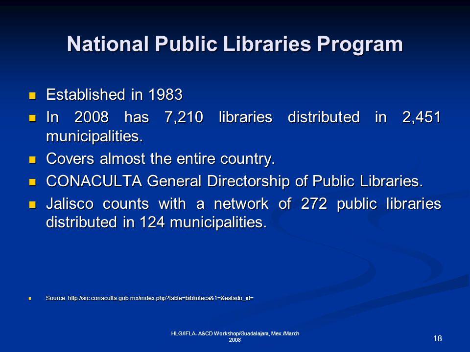 18 HLG/IFLA- A&CD Workshop/Guadalajara, Mex./March 2008 National Public Libraries Program Established in 1983 Established in 1983 In 2008 has 7,210 libraries distributed in 2,451 municipalities.
