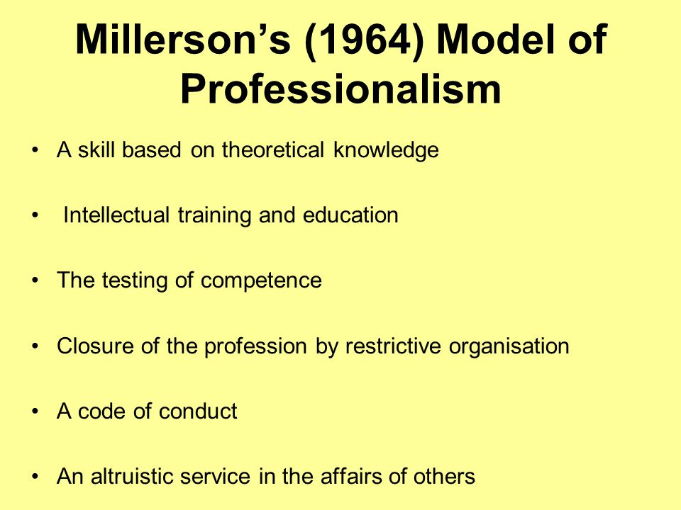 Millerson's (1964) Model of Professionalism A skill based on theoretical knowledge Intellectual training and education The testing of competence Closu
