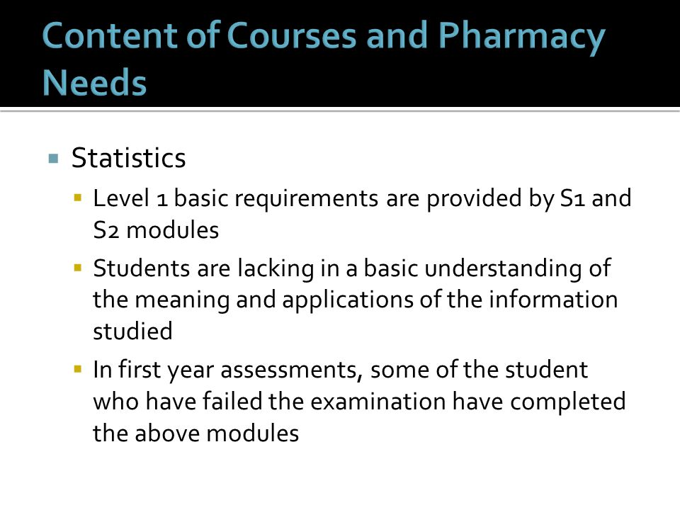  Statistics  Level 1 basic requirements are provided by S1 and S2 modules  Students are lacking in a basic understanding of the meaning and applications of the information studied  In first year assessments, some of the student who have failed the examination have completed the above modules