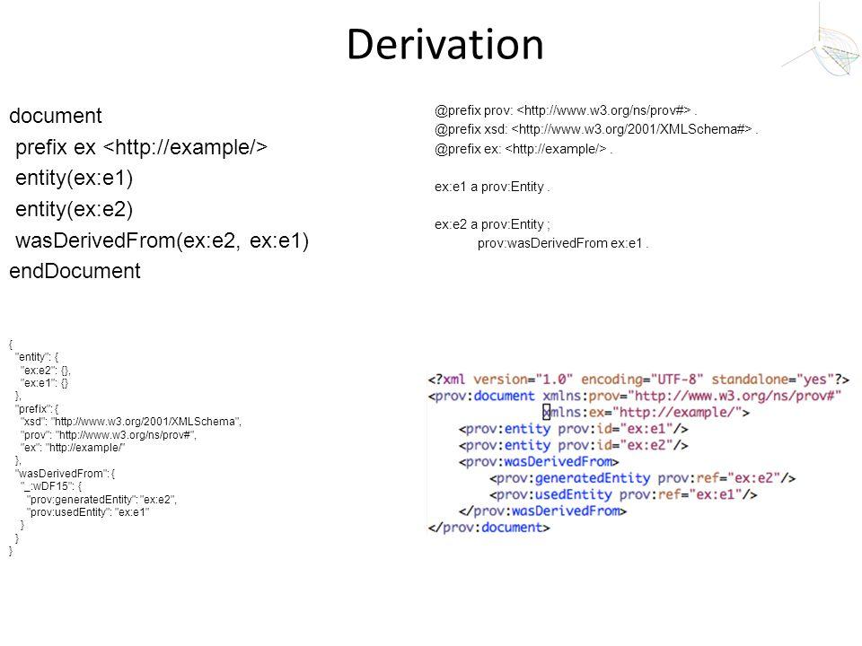 Derivation document prefix ex entity(ex:e1) entity(ex:e2) wasDerivedFrom(ex:e2, ex:e1) endDocument {