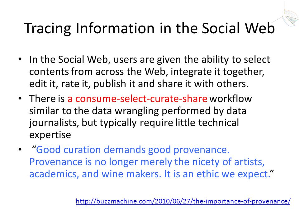 Tracing Information in the Social Web In the Social Web, users are given the ability to select contents from across the Web, integrate it together, ed