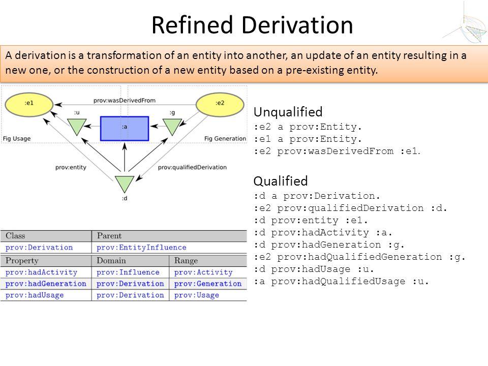 Unqualified :e2 a prov:Entity. :e1 a prov:Entity. :e2 prov:wasDerivedFrom :e1. Qualified :d a prov:Derivation. :e2 prov:qualifiedDerivation :d. :d pro