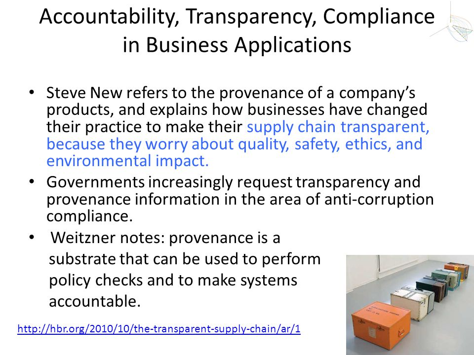 Accountability, Transparency, Compliance in Business Applications Steve New refers to the provenance of a company's products, and explains how busines