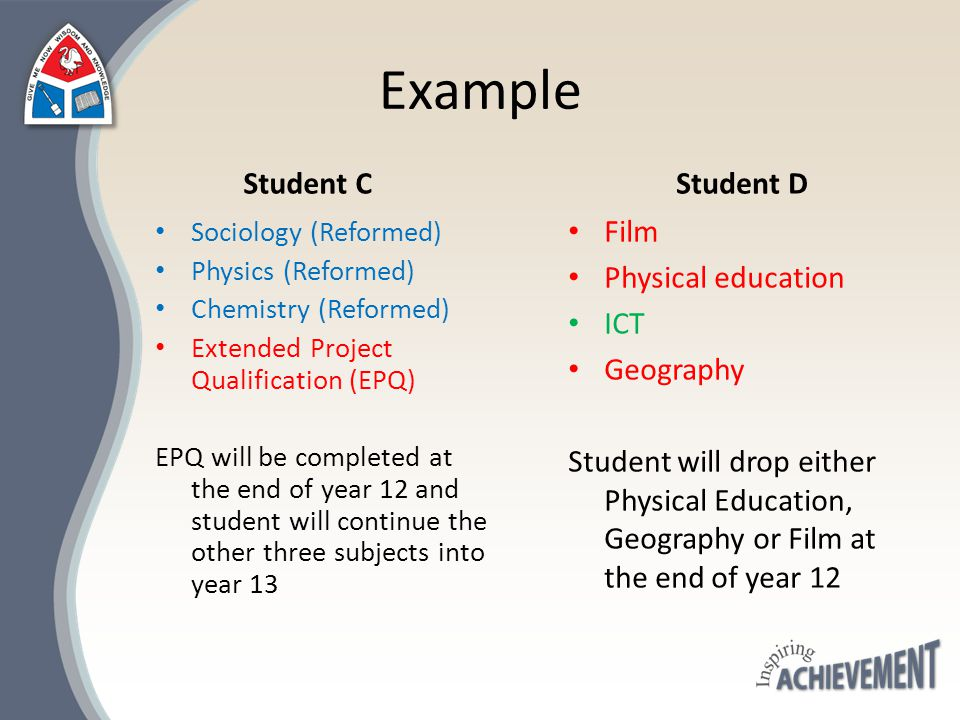Example Student C Sociology (Reformed) Physics (Reformed) Chemistry (Reformed) Extended Project Qualification (EPQ) EPQ will be completed at the end o