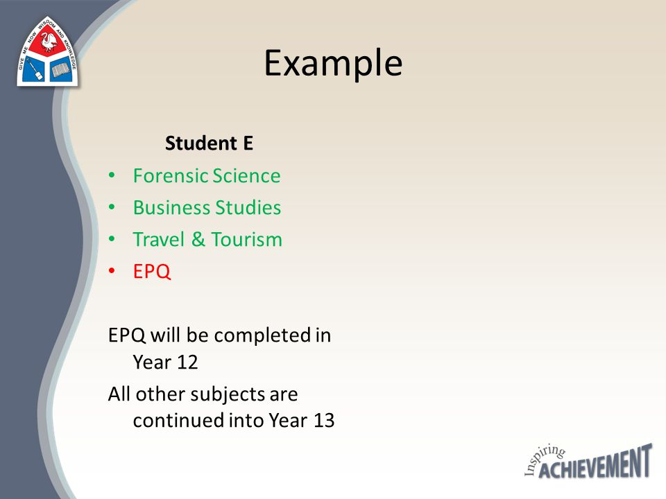 Example Student E Forensic Science Business Studies Travel & Tourism EPQ EPQ will be completed in Year 12 All other subjects are continued into Year 1