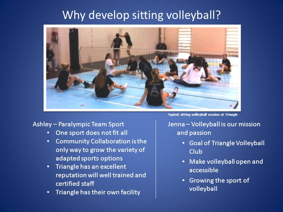 Why develop sitting volleyball? Jenna – Volleyball is our mission and passion Goal of Triangle Volleyball Club Make volleyball open and accessible Gro