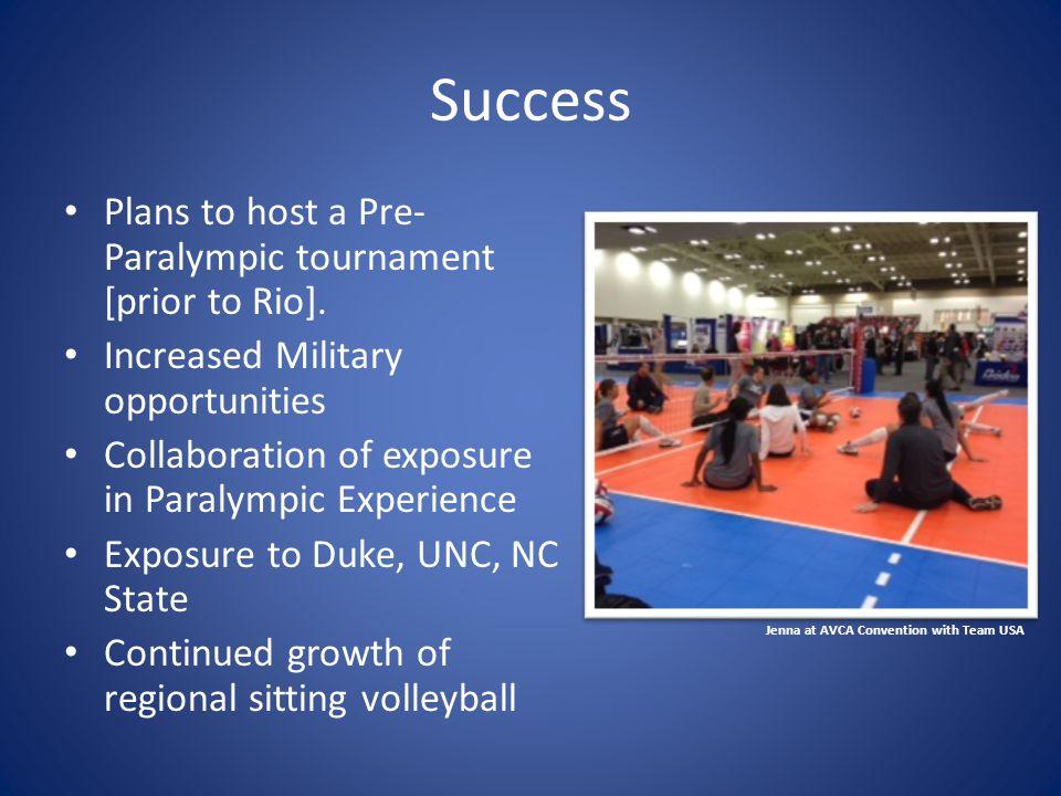 Success Plans to host a Pre- Paralympic tournament [prior to Rio].