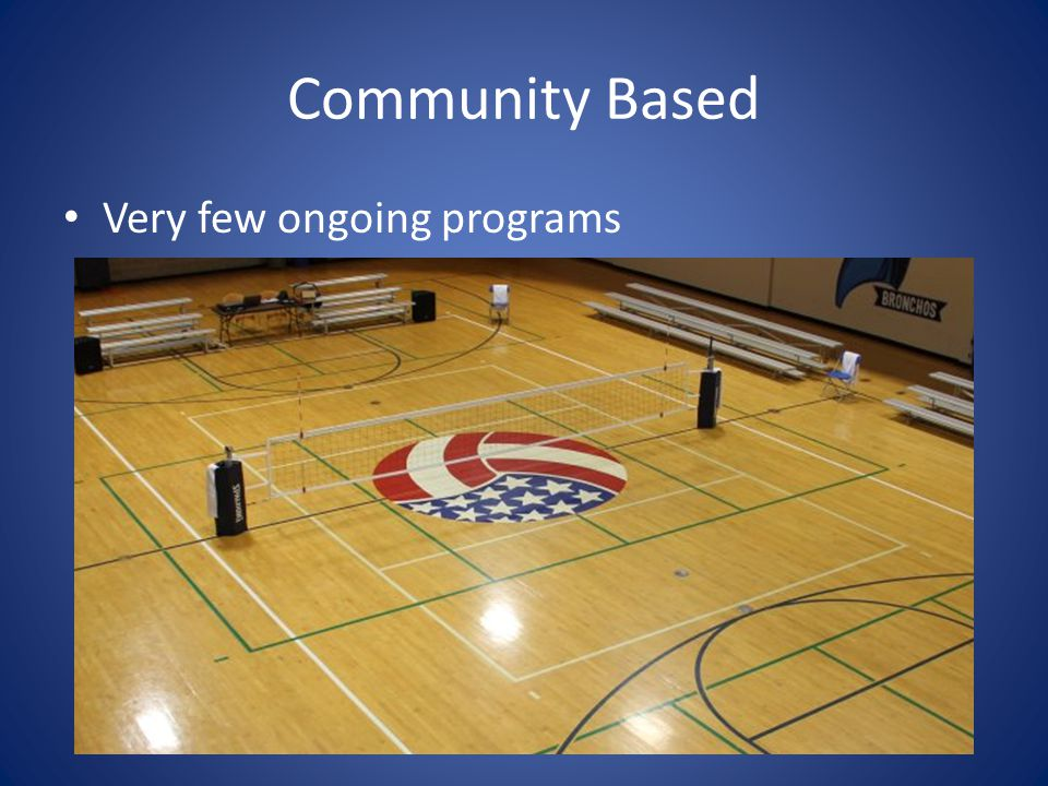 Community Based Very few ongoing programs