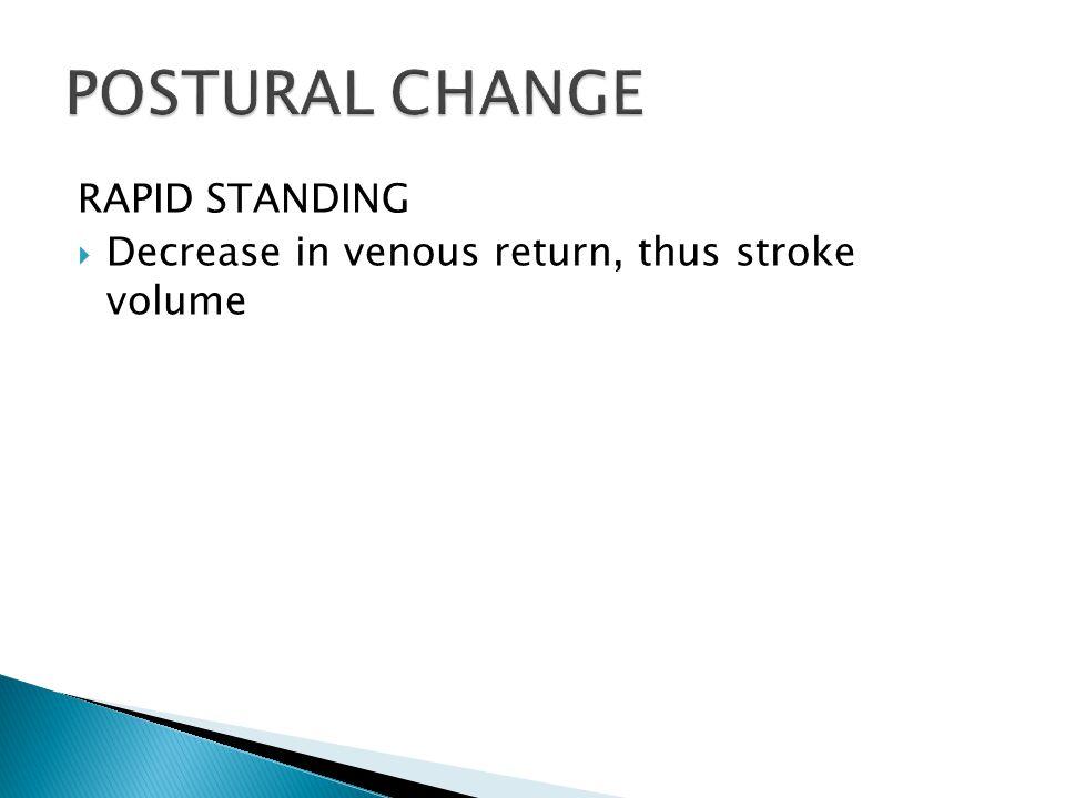RAPID STANDING  Decrease in venous return, thus stroke volume