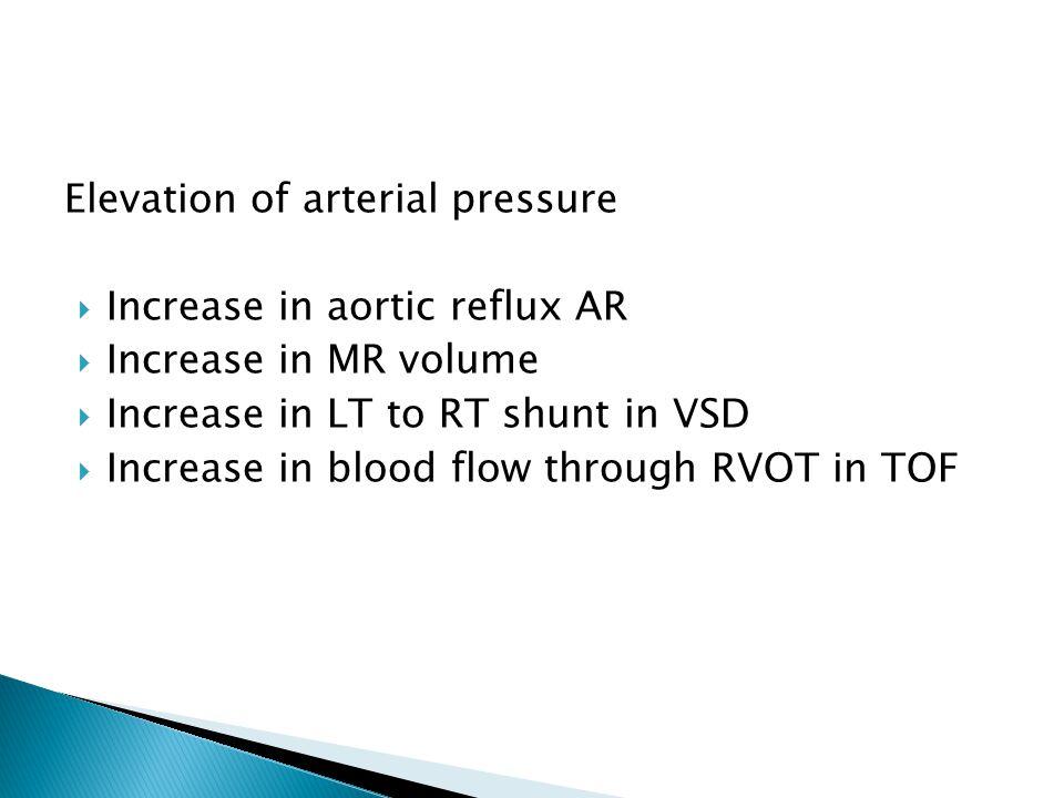 Elevation of arterial pressure  Increase in aortic reflux AR  Increase in MR volume  Increase in LT to RT shunt in VSD  Increase in blood flow through RVOT in TOF