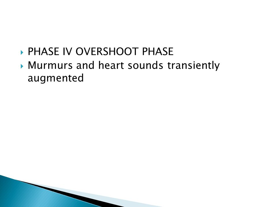  PHASE IV OVERSHOOT PHASE  Murmurs and heart sounds transiently augmented