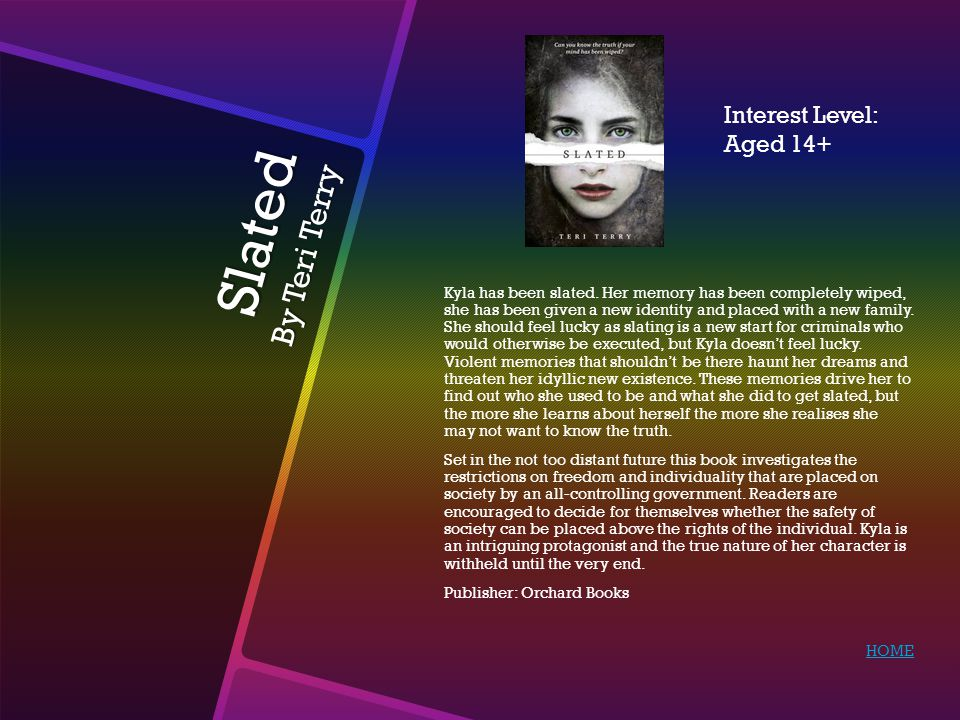 Slated By Teri Terry Kyla has been slated. Her memory has been completely wiped, she has been given a new identity and placed with a new family. She s