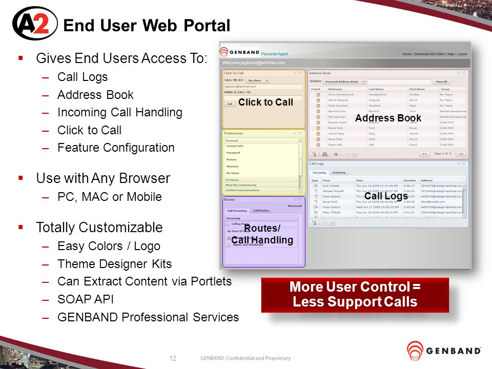 12 End User Web Portal  Gives End Users Access To: –Call Logs –Address Book –Incoming Call Handling –Click to Call –Feature Configuration  Use with